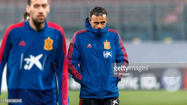Head coach Luis Enrique of Spain looks on during a Spain international training session at Ta' Qali stadium on March 25, 2019 in Attard, Malta.