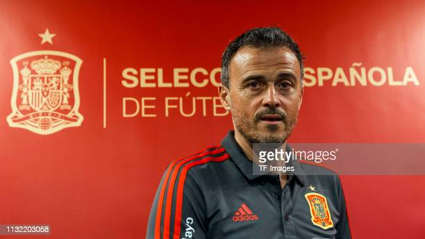 Head coach Luis Enrique of Spain looks on during the press conference prior to the Spain training session at Mestalla Stadium on March 22 2019 in...