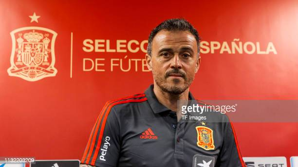 Head coach Luis Enrique of Spain looks on during the press conference prior to the Spain training session at Mestalla Stadium on March 22, 2019 in...