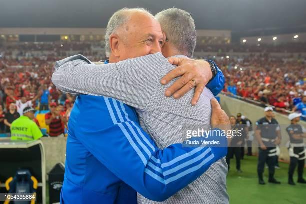 Head coach Luis Felipe Scolari of Palmeiras greets Dorival Júnior head coach of Flamengo during a match between Flamengo and Palmeiras as part of...