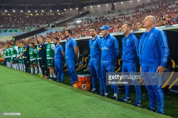 Head coach Luis Felipe Scolari of Palmeiras sings the national anthem during a match between Flamengo and Palmeiras as part of Brasileirao Series A...