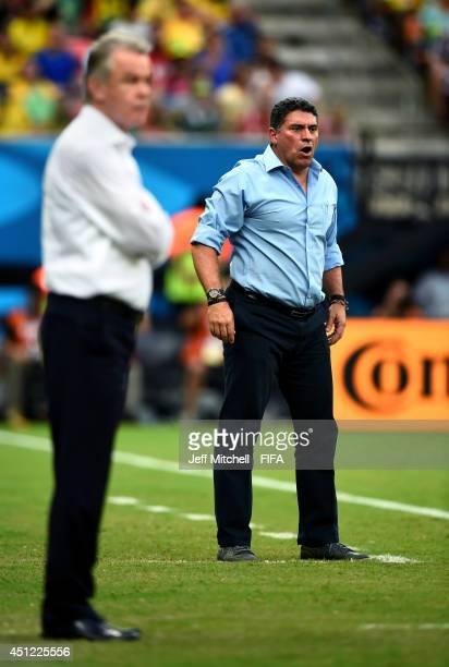 Head coach Luis Fernando Suarez of Honduras looks on during the 2014 FIFA World Cup Brazil Group E match between Honduras and Switzerland at Arena...