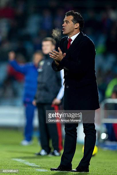 Head coach Luis Garcia of Getafe CF applauds his players during the La Liga match between Getafe CF and Levante UD at Coliseum Alfonso Perez on...