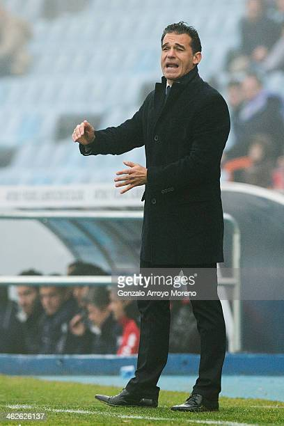Head coach Luis Garcia of Getafe CF gives instructions during the La Liga match between Getafe CF and Rayo Vallecano de Madrid at Coliseum Alfonso...