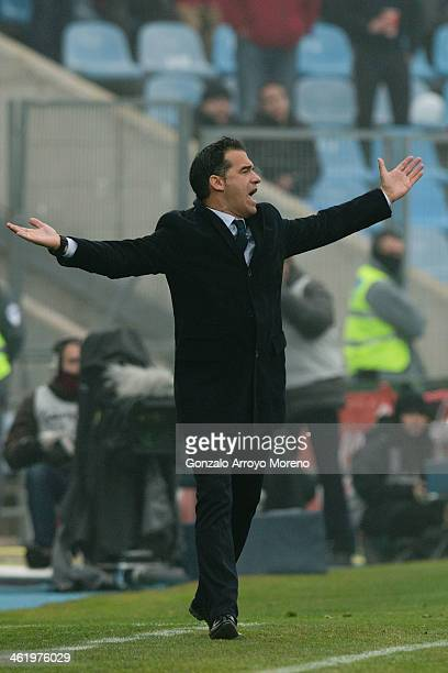 head coach Luis Garcia of Getafe CF protests to the referee during the La Liga match between Getafe CF and Rayo Vallecano de Madrid at Coliseum...
