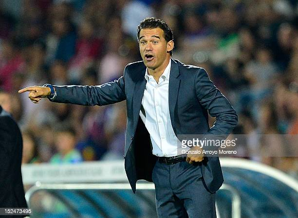 Head coach Luis Garcia of Getafe FC gives instructions during the La Liga match between Getafe CF and FC Barcelona at Coliseum Alfonso Perez on...