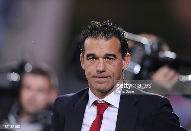 Head coach Luis Garcia of of Getafe CF looks on before the start of the La Liga match between Getafe CF and Elche FC at Coliseum Alfonso Perez...