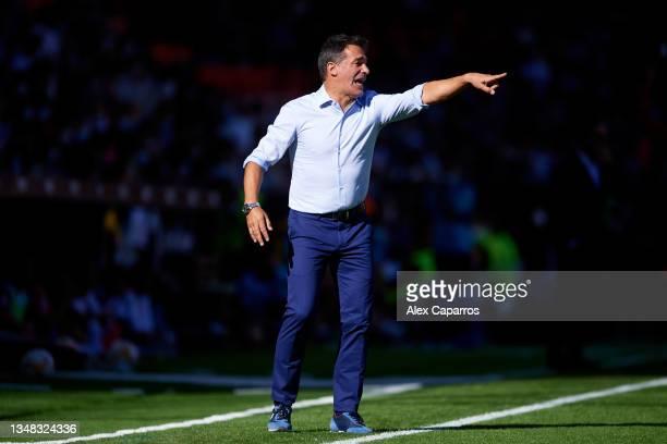 Head Coach Luis Garcia of RCD Mallorca gives instructions to his team during the La Liga Santander match between Valencia CF and RCD Mallorca at...