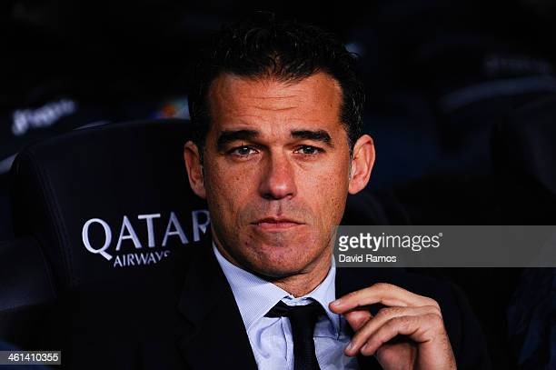 Head coach Luis Garcia Plaza of Getafe CF looks on during the Copa del Rey round of 16 first leg match between FC Barcelona and Getafe CF at Camp Nou...