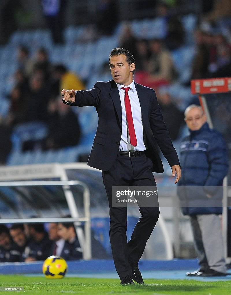 Head coach Luis Garcia Plaza of Getafe CF reacts during the La Liga match between Getafe CF and Athletic Club at Coliseum Alfonso Perez stadium on October 28, 2013 in Getafe, Spain.