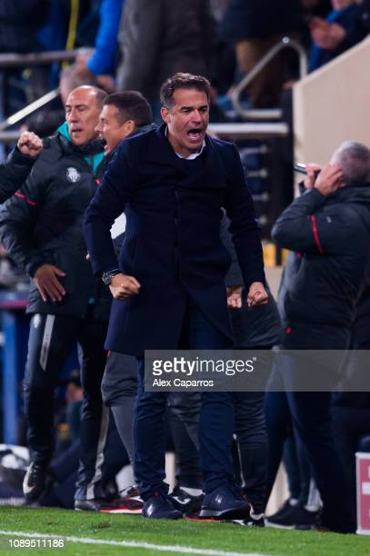 Head Coach Luis Garcia Plaza of Villarreal CF celebrates after his player Santi Cazorla scored his team's second goal during the La Liga match...