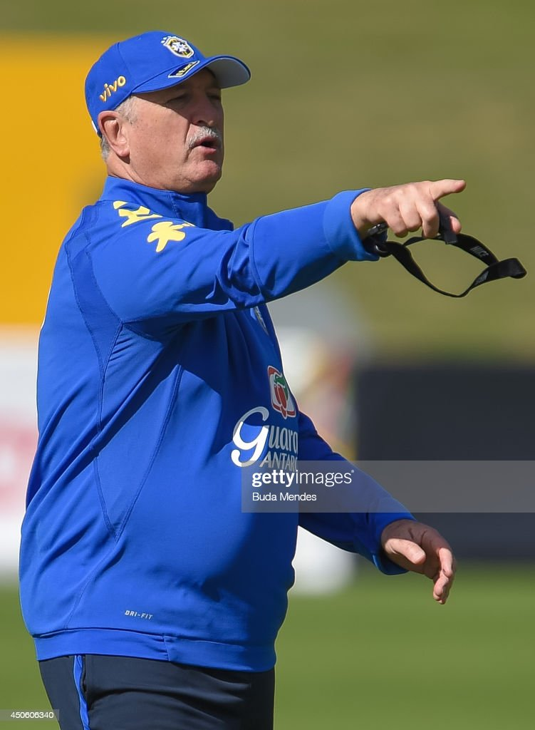 Head coach Luiz Felipe Scolari gestures during a training session of the Brazilian national football team at the squad's Granja Comary training complex, on June 14, 2014 in Teresopolis, 90 km from downtown Rio de Janeiro, Brazil.