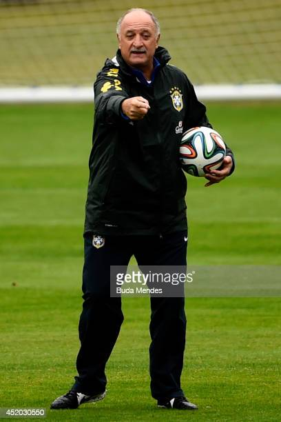 Head coach Luiz Felipe Scolari gestures during a training session of the Brazilian national football team at the squad's Granja Comary training...