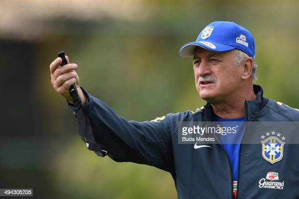 Head coach Luiz Felipe Scolari in action during a training session of the Brazilian national football team at the squad's Granja Comary training...