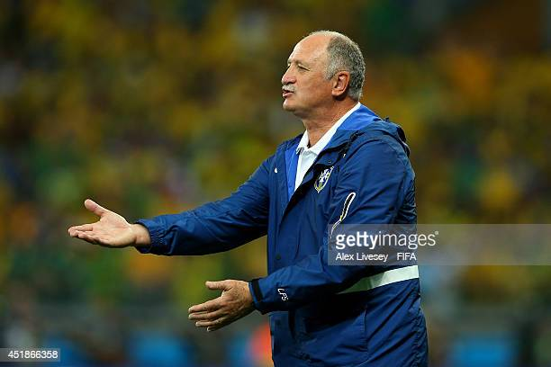Head coach Luiz Felipe Scolari of Brazil gestures after conceding five goals in the first half during the 2014 FIFA World Cup Brazil Semi Final match...