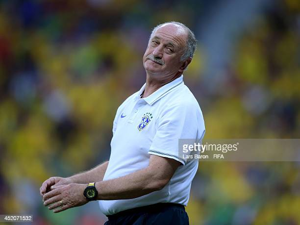 Head coach Luiz Felipe Scolari of Brazil looks on during the 2014 FIFA World Cup Brazil 3rd Place Playoff match between Brazil and Netherlands at...