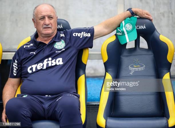 Head coach Luiz Felipe Scolari of Palmeiras looks on before a match between Flamengo and Palmeiras as part of Brasileirao Series A 2019 at Maracana...