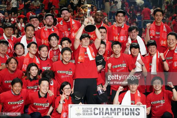 Head Coach Luka Pavicevic of Alvark Tokyo celebrates after defeating Chiba Jets 71-67 to win during the B.League final between Chiba Jets and Alvark...