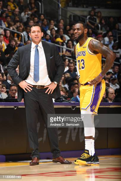 Head Coach Luke Walton and LeBron James of the Los Angeles Lakers talk during a game against the Washington Wizards on March 26 2019 at STAPLES...