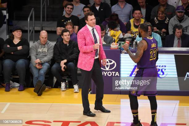Head Coach Luke Walton and LeBron James of the Los Angeles Lakers talk during the game against the Dallas Mavericks on November 30 2018 at STAPLES...