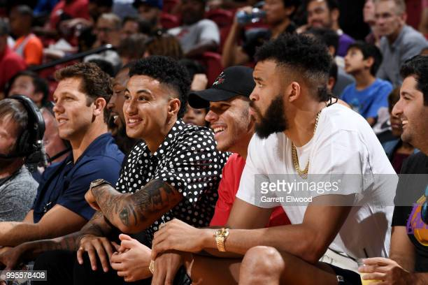 Head Coach Luke Walton Kyle Kuzma Lonzo Ball and JaVale McGee of the the Los Angeles Lakers look on during the game against the the Philadelphia...