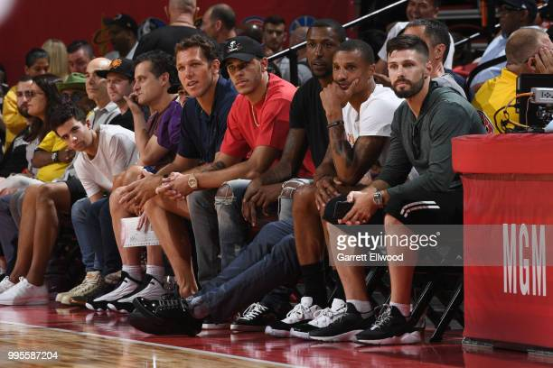 Head Coach Luke Walton Lonzo Ball of the the Los Angeles Lakers looks on during the game between the the Chicago Bulls and the Cleveland Cavaliers...