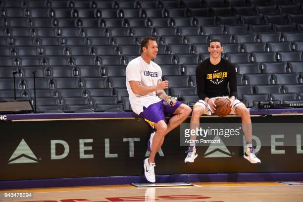 Head Coach Luke Walton of the Los Angeles Lakers and Lonzo Ball of the Los Angeles Lakers talk before the game against the Utah Jazz on April 8 2018...