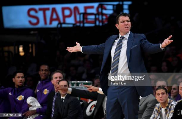 Head coach Luke Walton of the Los Angeles Lakers calls for a foul during a 121107 loss to the Toronto Raptors at Staples Center on November 4 2018 in...