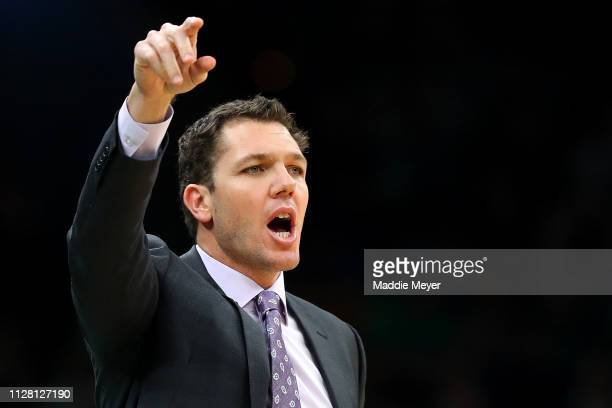 Head Coach Luke Walton of the Los Angeles Lakers directs his team during the second quarter against the Boston Celtics at TD Garden on February 07...