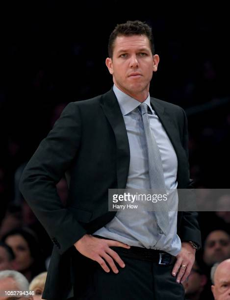 Head coach Luke Walton of the Los Angeles Lakers during a 143142 loss to the San Antonio Spurs at Staples Center on October 22 2018 in Los Angeles...