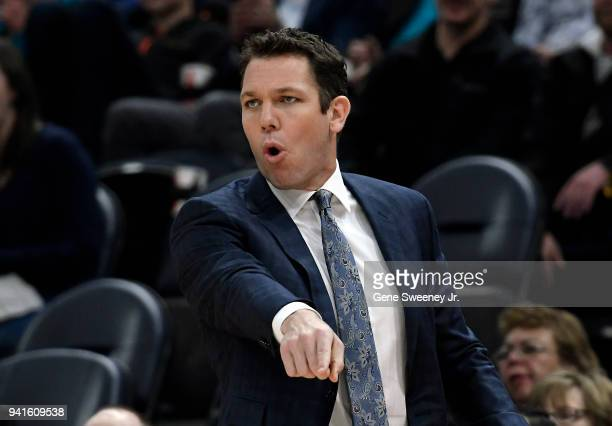 Head coach Luke Walton of the Los Angeles Lakers gestures from the sideline in the first half of a game against the Utah Jazz at Vivint Smart Home...