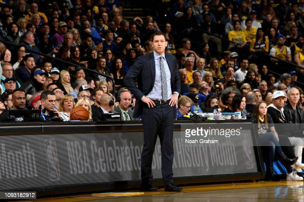 Head Coach Luke Walton of the Los Angeles Lakers looks against the Golden State Warriors on February 2 2019 at ORACLE Arena in Oakland California...