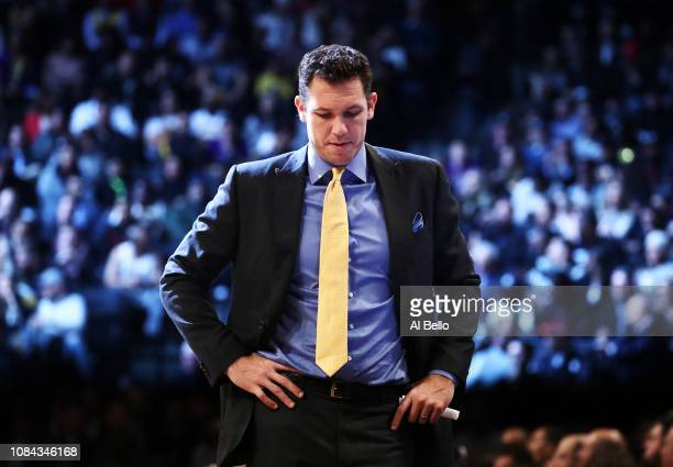 Head Coach Luke Walton of the Los Angeles Lakers looks on against the Brooklyn Nets during their game at the Barclays Center on December 18 2018 in...
