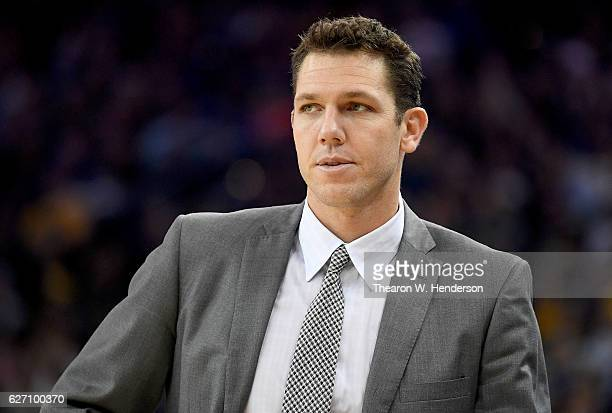 Head coach Luke Walton of the Los Angeles Lakers looks on against the Golden State Warriors in the second half of their NBA basketball game at ORACLE...