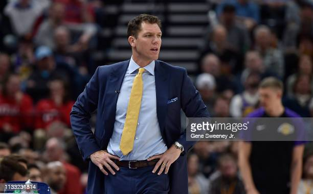 Head coach Luke Walton of the Los Angeles Lakers looks on from the sideline in the first half of a NBA game against the Utah Jazz at Vivint Smart...