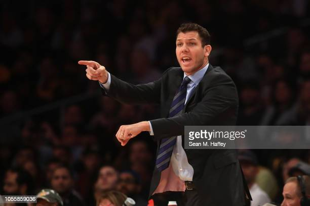 Head coach Luke Walton of the Los Angeles Lakers motions to referees during the first half of a game against the Dallas Mavericks at Staples Center...