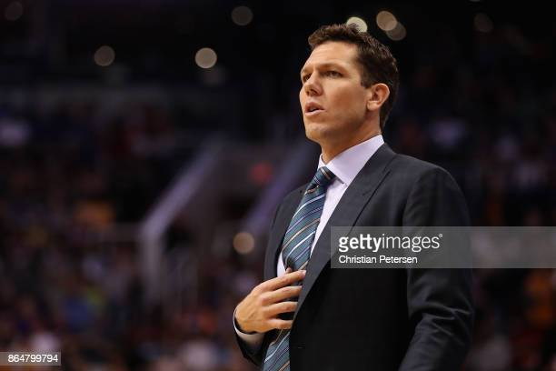 Head coach Luke Walton of the Los Angeles Lakers reacts during the NBA game against the Phoenix Suns at Talking Stick Resort Arena on October 20 2017...