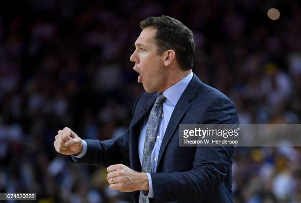 Head coach Luke Walton of the Los Angeles Lakers reacts to a call against the Golden State Warriors during the second half of their NBA Basketball...