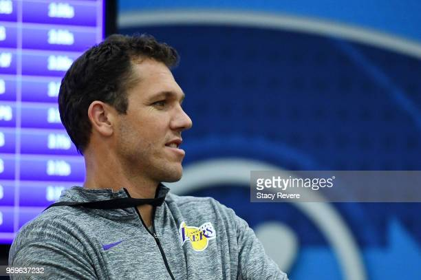 Head coach Luke Walton of the Los Angeles Lakers watches action during Day One of the NBA Draft Combine at Quest MultiSport Complex on May 17 2018 in...