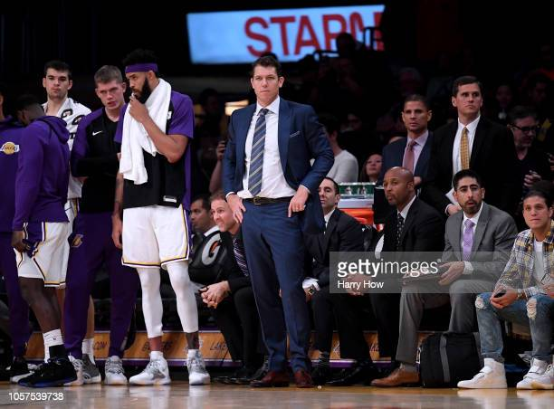 Head coach Luke Walton of the Los Angeles Lakers watches the final seconds in a 121107 loss to the Toronto Raptors at Staples Center on November 4...