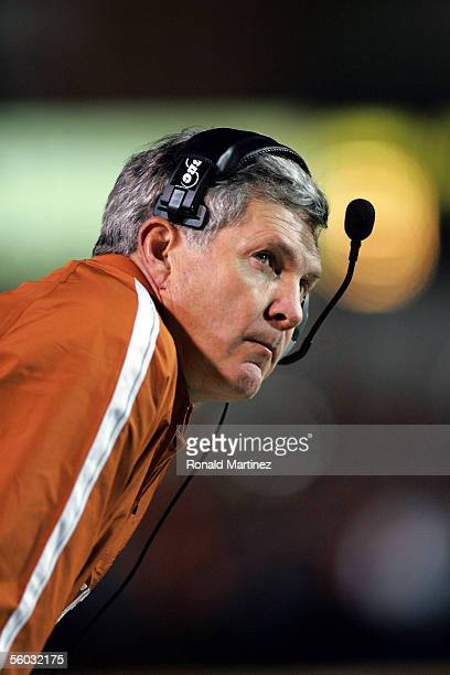 Head coach Mack Brown of the Texas Longhorns during play against the Oklahoma State Cowboys October 29 2005 at Boone Pickens Stadium in Stillwater...