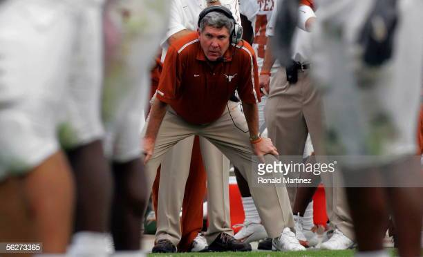 Head coach Mack Brown of the Texas Longhorns stands on the sidelines during play against the Texas AM Aggies on November 25 2005 at Kyle Field in...