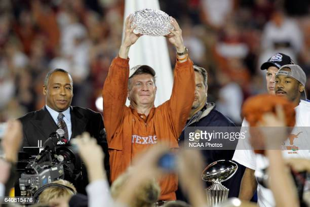 Head Coach Mack Brown of the University of Texas celebrates the Longhorns victory over the University of Southern California during the BCS National...