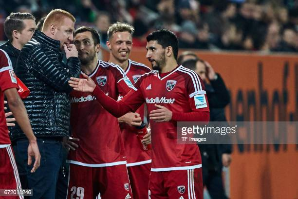 Head coach Maik Walpurgis of Ingolstadt Markus Suttner of Ingolstadt Sonny Kittel of Ingolstadt and Almog Cohen of Ingolstadt looks on during the...