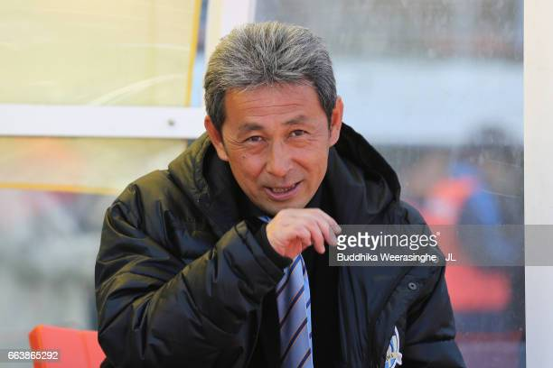 Head coach Makoto Kitano of Kamatamare Sanuki looks on during the JLeague J2 match between Kamatamare Sanuki and Shonan Bellmare at Pikara Stadium on...