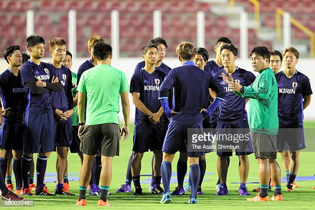 Head coach Makoto Teguramori instructs his players during a training session on July 22 2016 in Aracaju Brazil