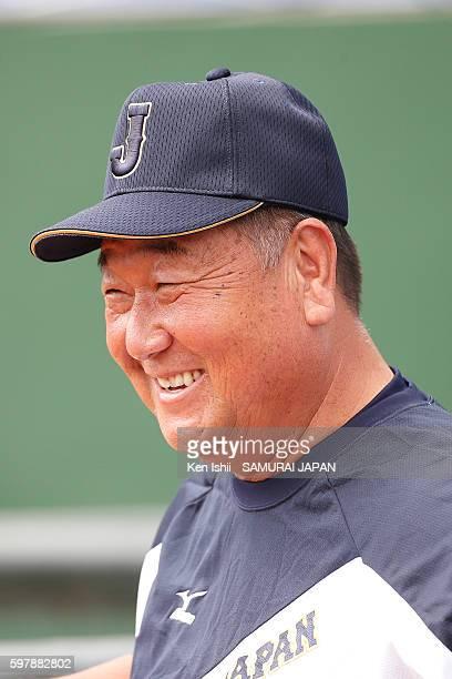 Head coach Mamoru Koeda of Japan smiles prior to the game between Japan and Hong Kong during the 11th BFA U18 Baseball Championship at the Taichung...