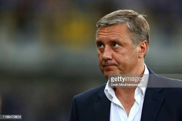 Head coach / Manager, Alyaksandr Khatskevich looks on during the UEFA Champions League, Third qualifying round 1st leg match between Club Brugge KV...