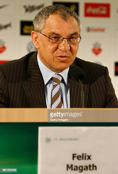 Head coach, manager and sports director Felix Magath attends a VfL Wolfsburg press conference at their training ground on April 30, 2009 in...