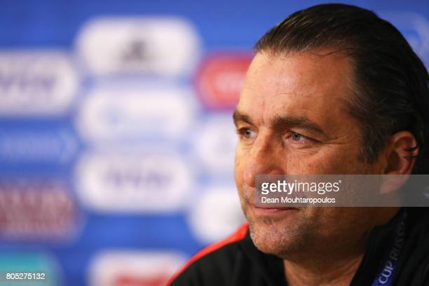 Head Coach / Manager Juan Antonio Pizzi speaks to the media during a press conference of the Chiliean national football team on July 1 2017 in Saint...